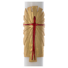 Paschal candle in white wax with support and golden Resurrected Christ 8x120cm s2