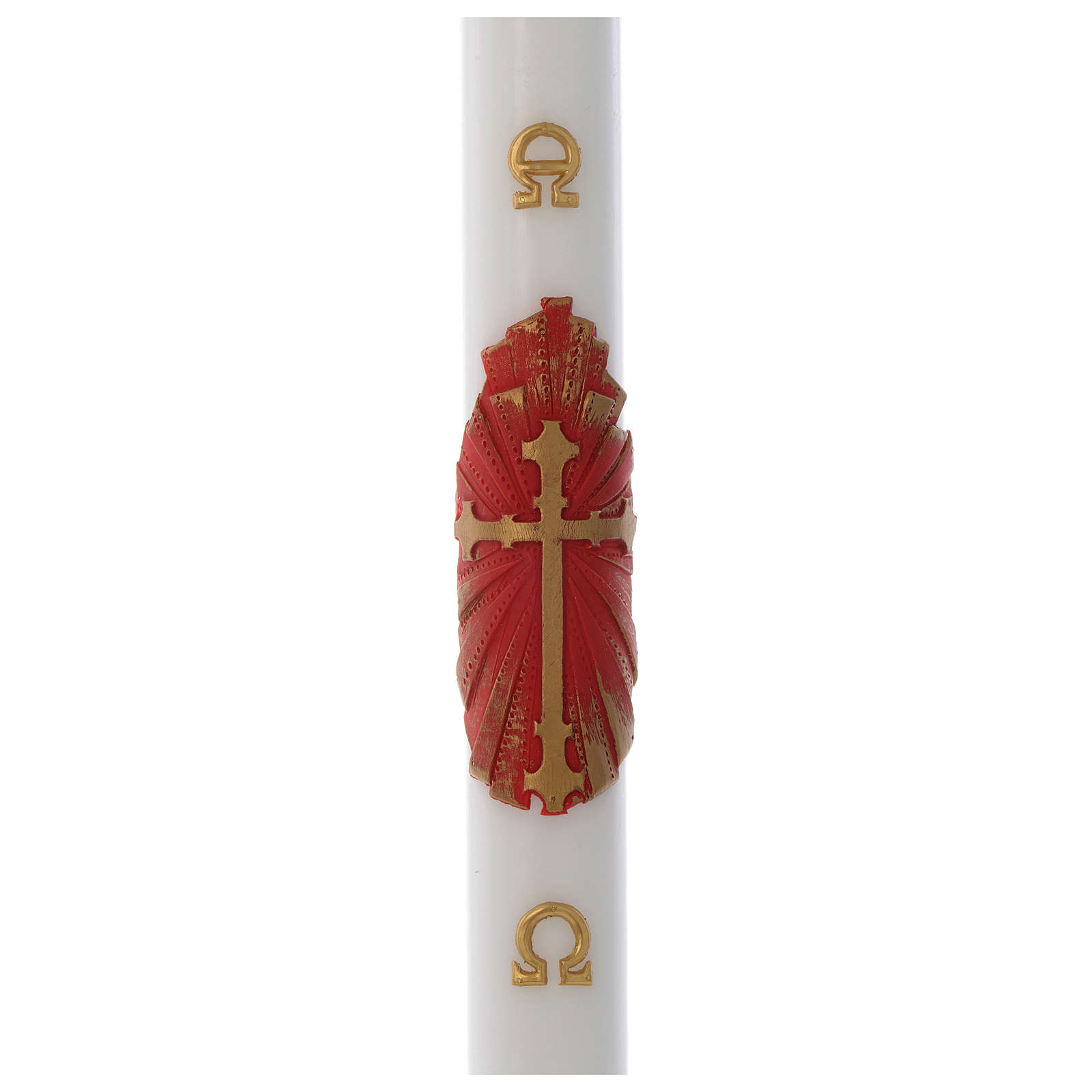 Cierge Pascal cire blanche RENFORT Croix Ancienne 8x120cm 3