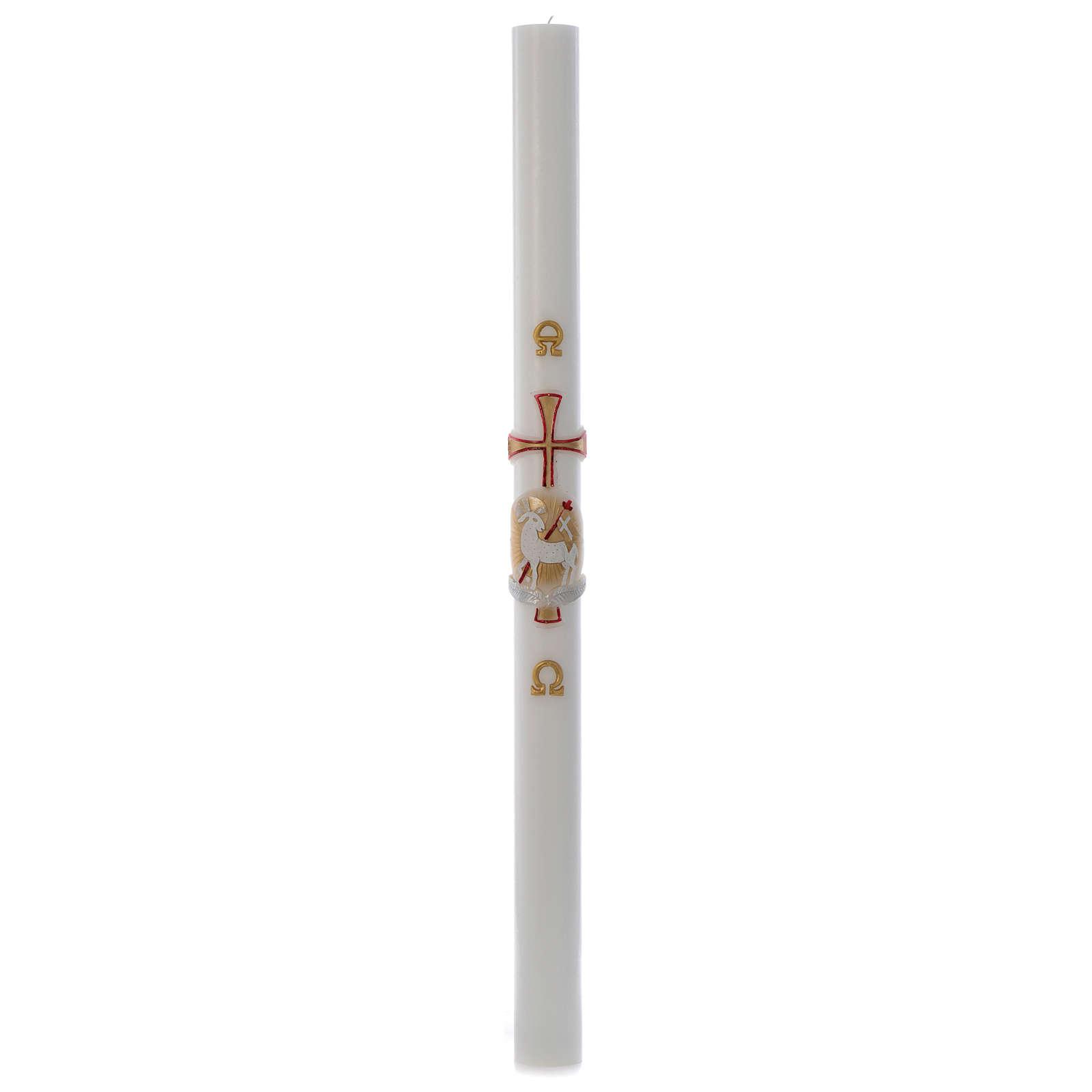Cero pasquale bianco RINFORZO Agnello oro e rosso croce 8x120 cm 3