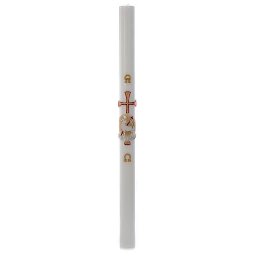 Paschal candle in white wax with red and gold lamb 8x120cm 3