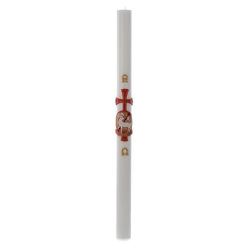 Cero pasquale RINFORZO Agnello croce cera bianca 8x120 cm 3