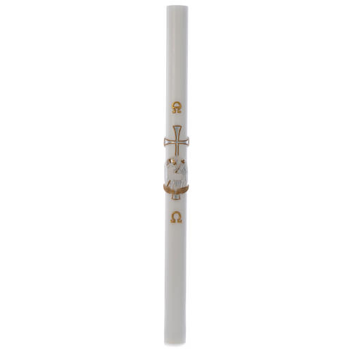 Lamb Paschal candle with support in white wax with silver cross 8x120cm 3