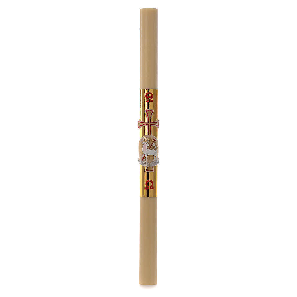 Easter candle with support in white wax with lamb and gold cross 8x120cm 3