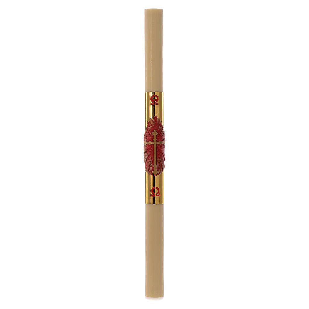 Cierge pascal RENFORT croix rouge fond or 8x120cm cire d'abeilles 3