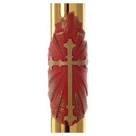Cierge pascal RENFORT croix rouge fond or 8x120cm cire d'abeilles s2