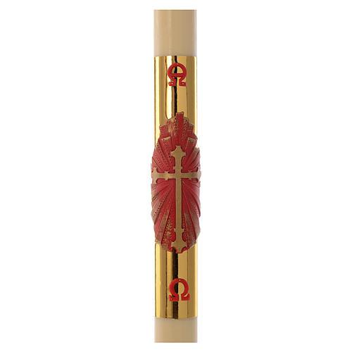 Cierge pascal RENFORT croix rouge fond or 8x120cm cire d'abeilles 1