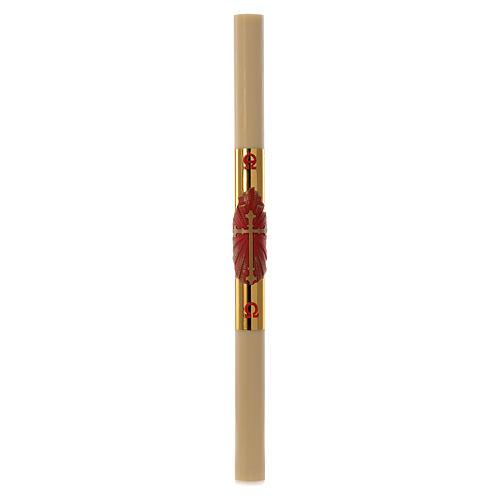 Cero pasquale cera api RINFORZO Croce rossa fondo oro 8x120 cm 3