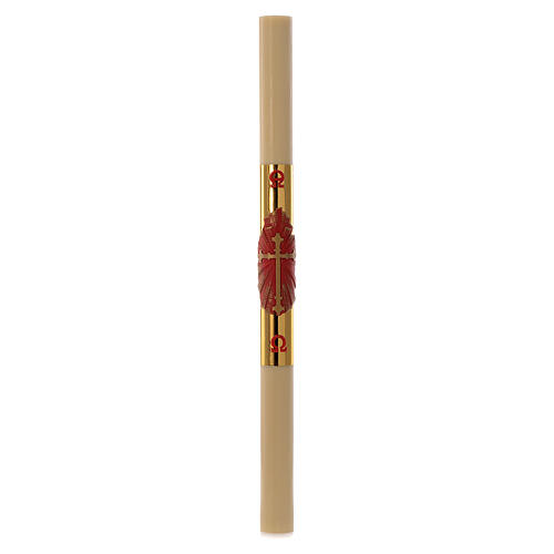 Easter candle with support in beeswax with red and gold cross 8x120cm 3