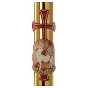 Cierge pascal RENFORT Agneau et croix fond or 8x120cm s2