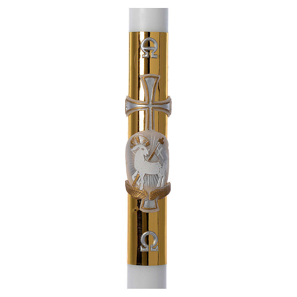 Cierge pascal blanc RENFORT Agneau croix fond doré 8x120cm 3