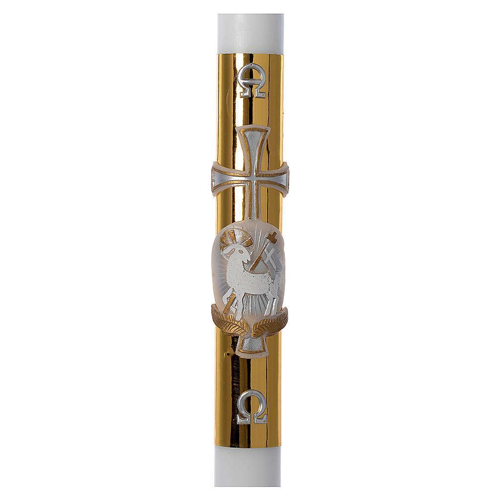 Cero pasquale bianco RINFORZO Agnello croce fondo dorato 8x120 cm 3