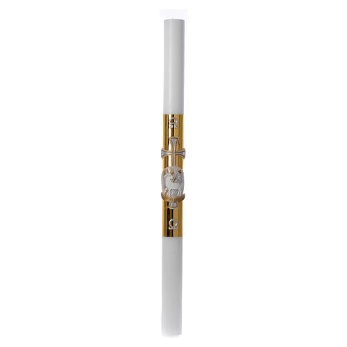 White Easter candle with support with lamb and gold cross 8x120cm 3