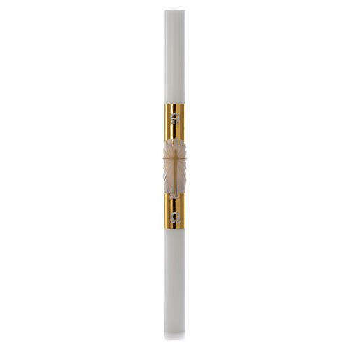 Cierge pascal blanc RENFORT Croix fond doré 8x120cm 3