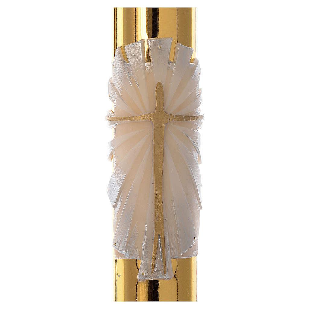 Cero pasquale bianco RINFORZO Croce fondo dorato 8x120 cm 3