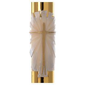 Cero pasquale bianco RINFORZO Croce fondo dorato 8x120 cm s2