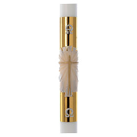 White Easter candle with support with gold cross 8x120cm s1