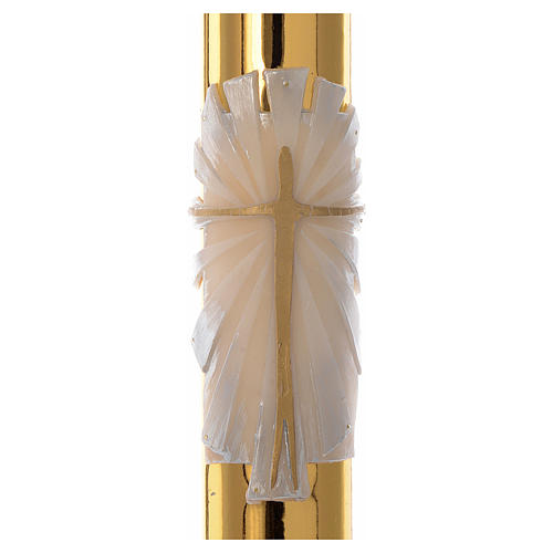 White Easter candle with support with gold cross 8x120cm 2