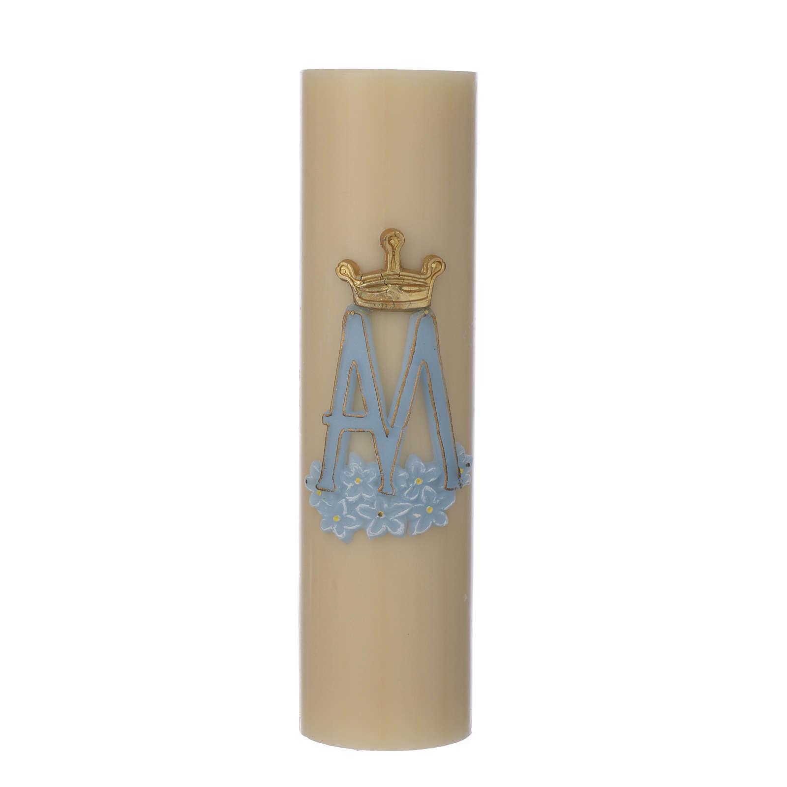 Cierge d'autel symbole Marial cire d'abeille diam 8 cm 3