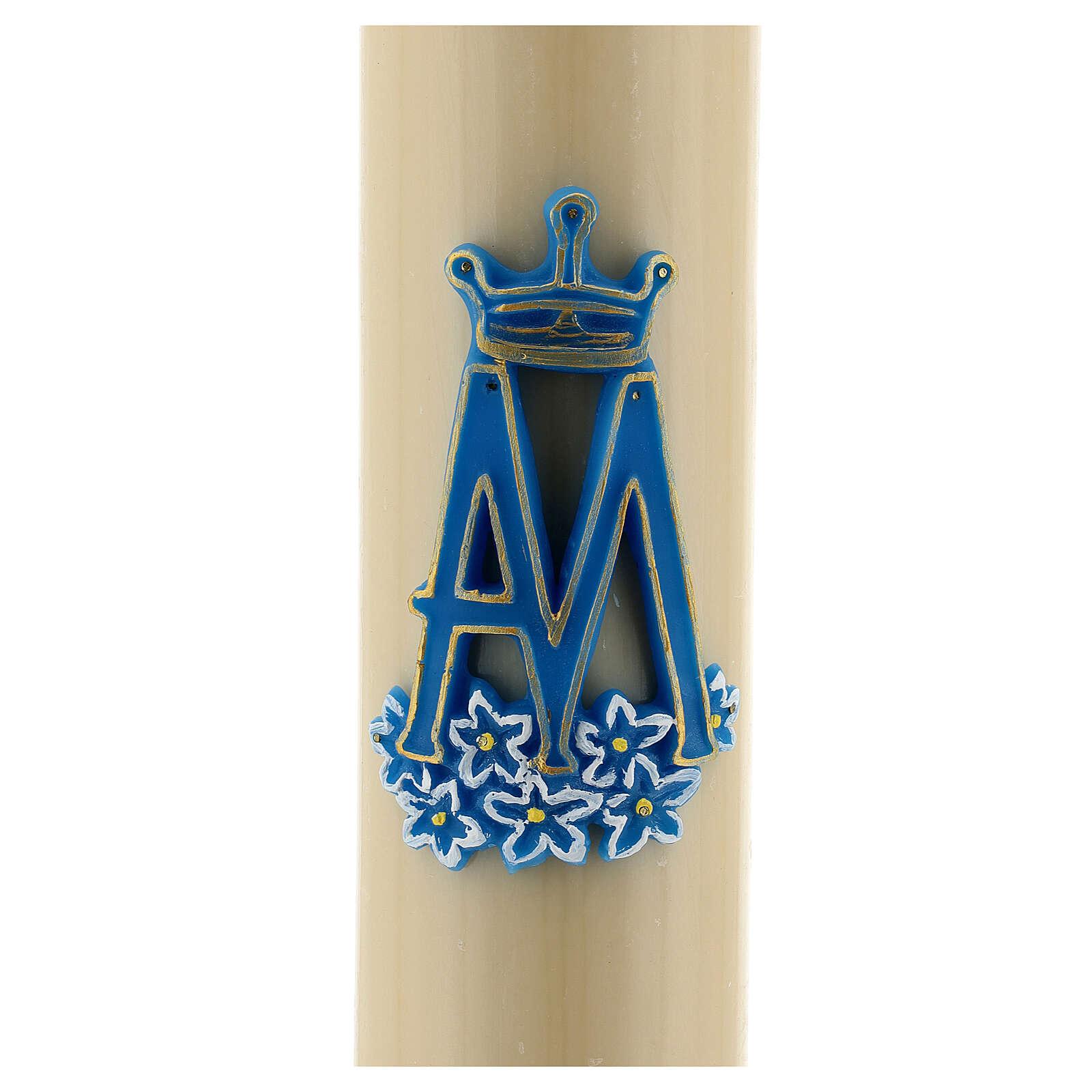 Cero da altare simbolo Mariano cera api diam cm 8 3