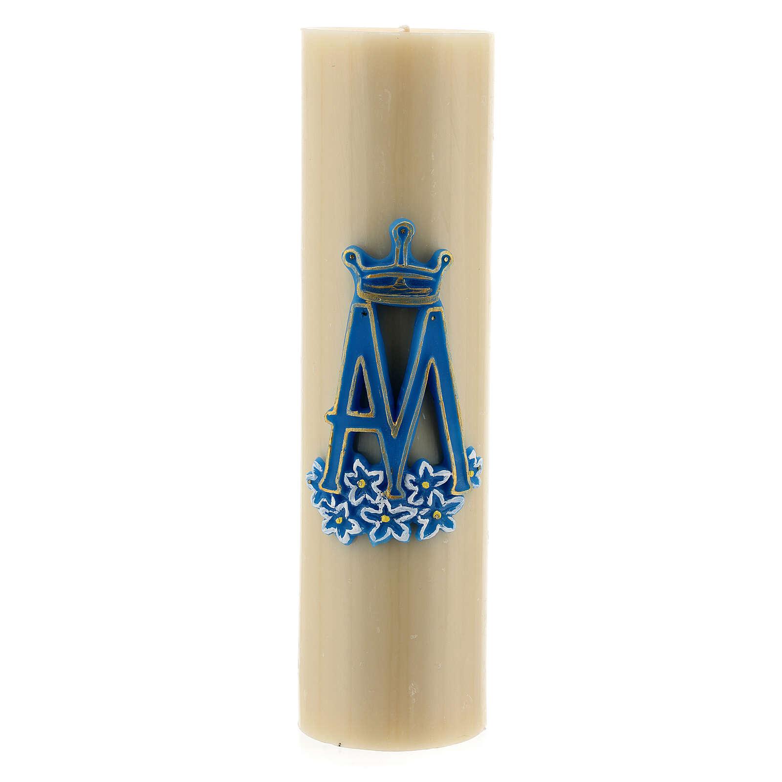 Vela de altar símbolo mariano cera de abelha diâm. 8 cm 3