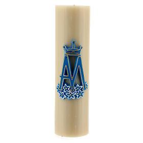 Vela de altar símbolo mariano cera de abelha diâm. 8 cm s1