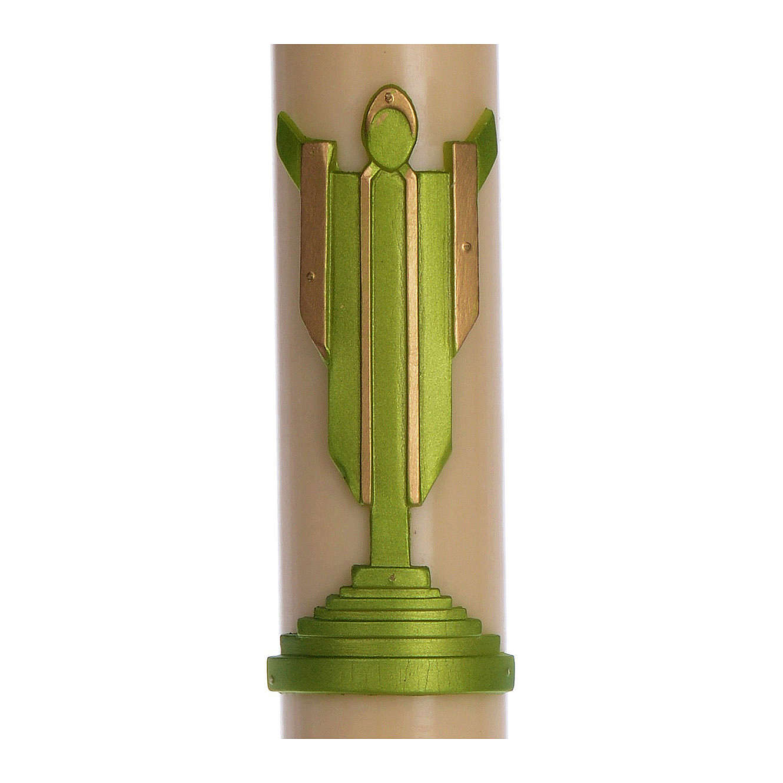Cirio Pascual cera de abeja Jesucristo Resucitado verde 8x120 cm 3