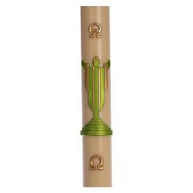 Cirio Pascual cera de abeja Jesucristo Resucitado verde 8x120 cm s1