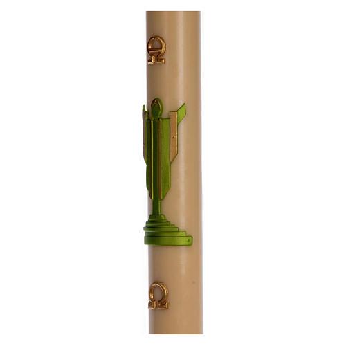 Cirio Pascual cera de abeja Jesucristo Resucitado verde 8x120 cm 4