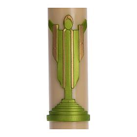 Cierge pascal cire d'abeille Christ Ressuscité vert 8x120 cm s2