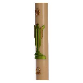 Cierge pascal cire d'abeille Christ Ressuscité vert 8x120 cm s4