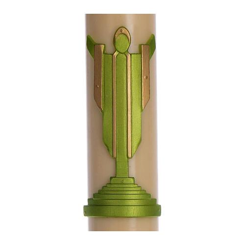Cierge pascal cire d'abeille Christ Ressuscité vert 8x120 cm 2