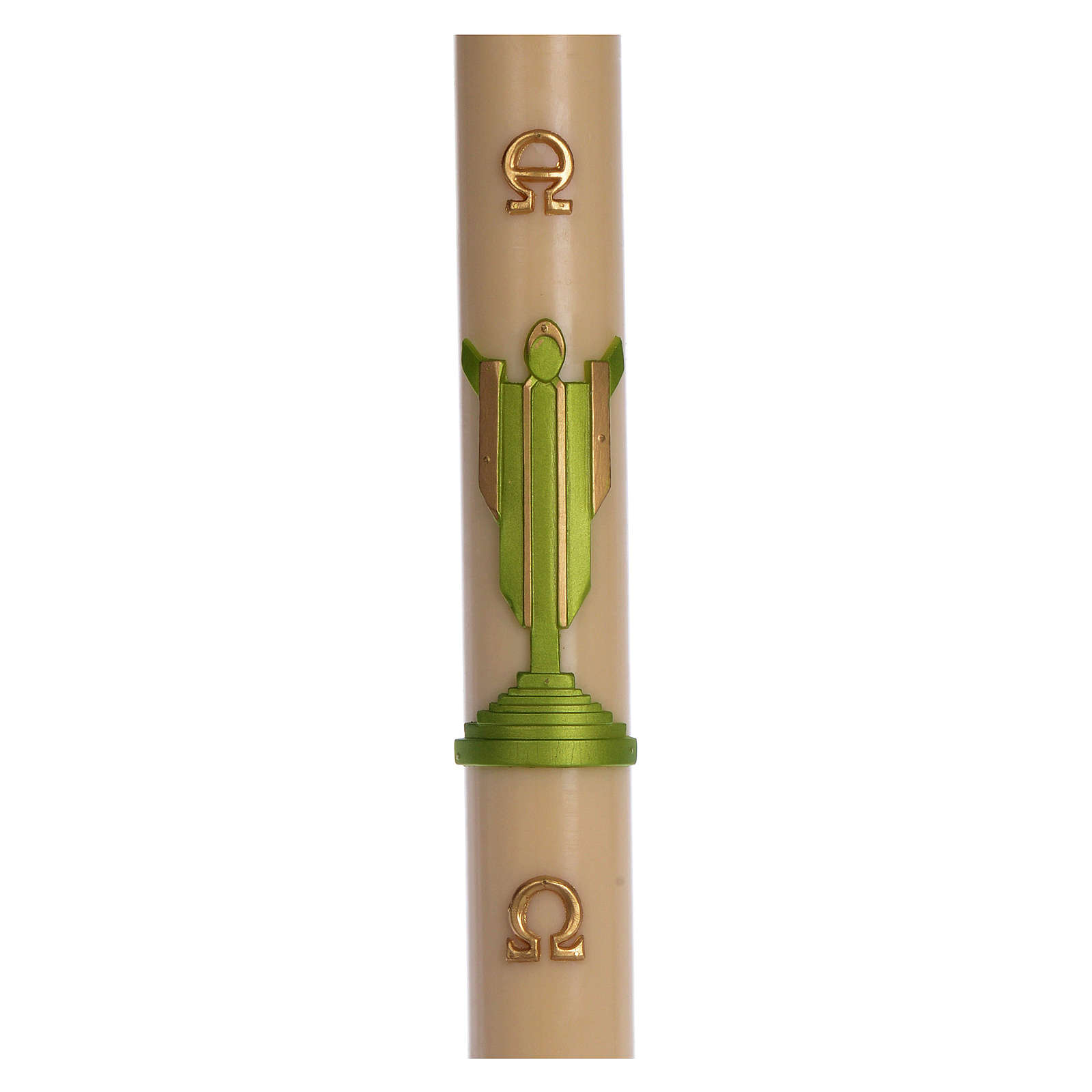 Paschal candle in beeswax with support with green Resurrected Christ 8x120cm 3