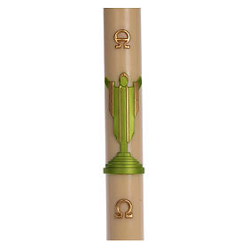 Paschal candle in beeswax with support with green Resurrected Christ 8x120cm s1