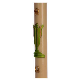 Paschal candle in beeswax with support with green Resurrected Christ 8x120cm s4