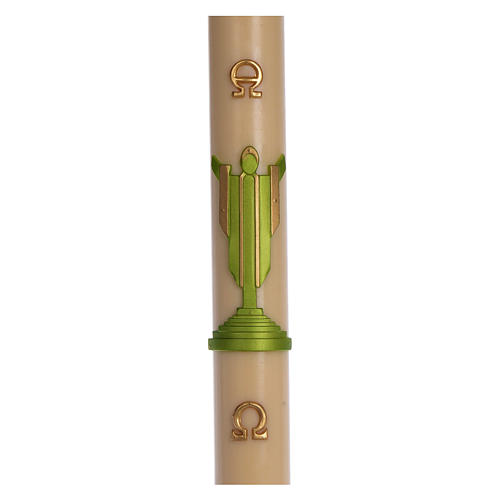Paschal candle in beeswax with support with green Resurrected Christ 8x120cm 1