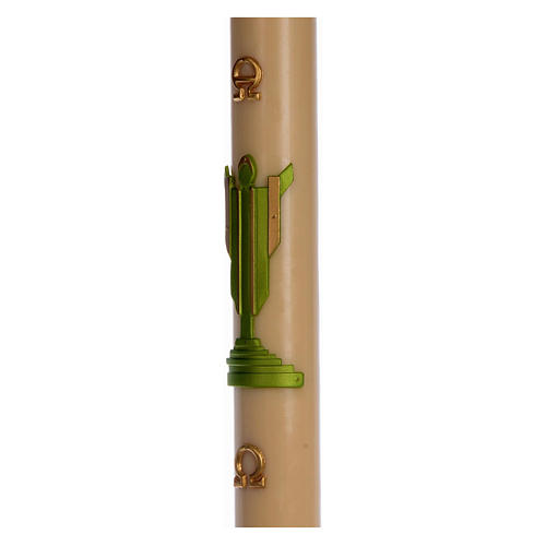 Paschal candle in beeswax with support with green Resurrected Christ 8x120cm 4