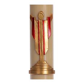 Cero pasquale cera d'api Cristo Risorto rosso 8x120 cm s2