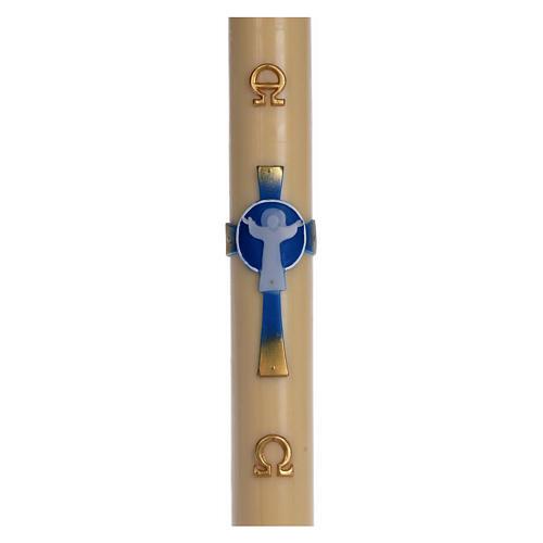 Osterkerze auferstandenen Christus mit Kreuz hellblau 8x120 Bienenwachs