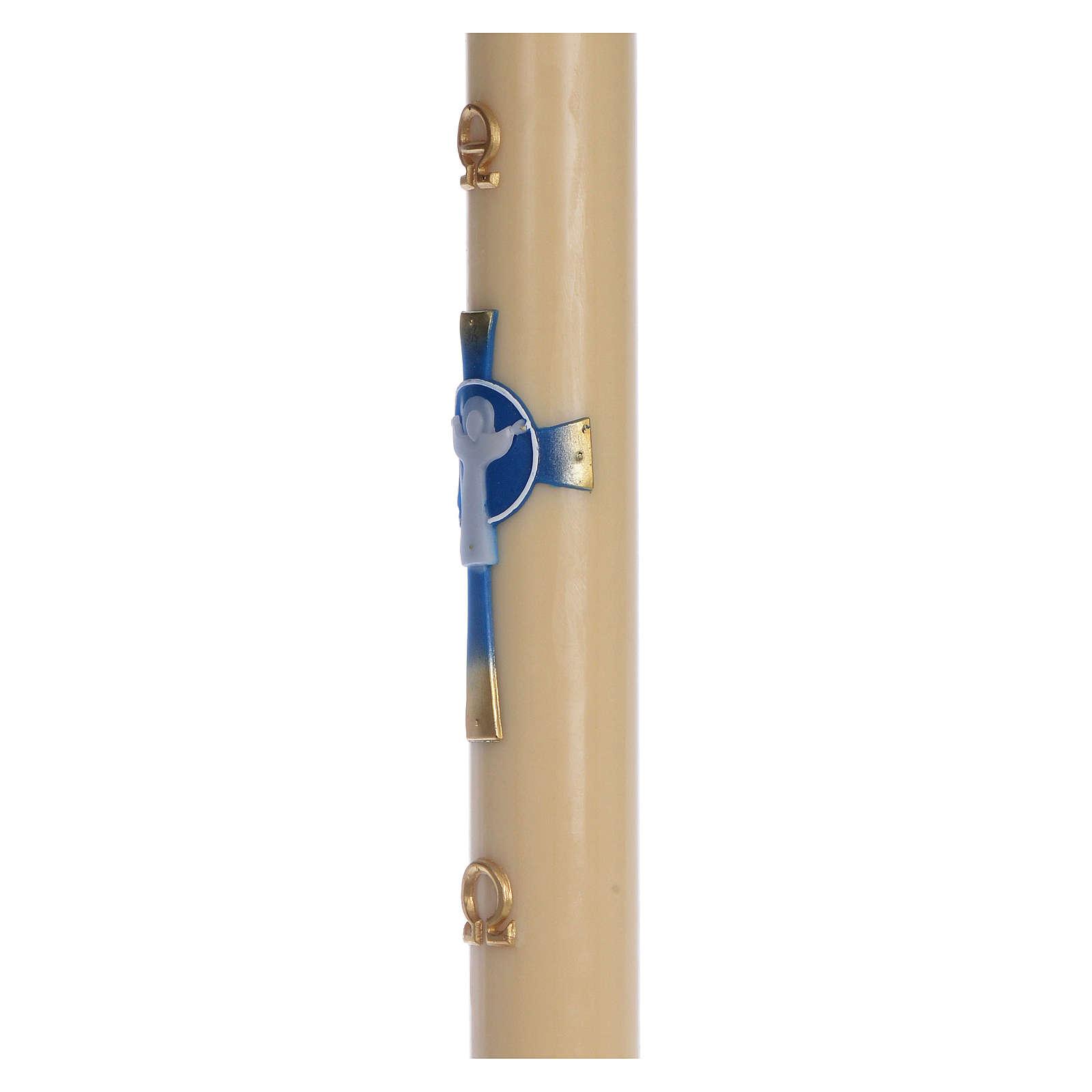 Cierge pascal cire d'abeille Croix Ressuscité bleu clair 8x120 cm 3