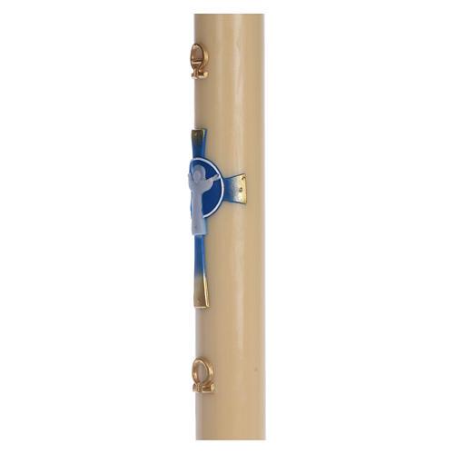 Cierge pascal cire d'abeille Croix Ressuscité bleu clair 8x120 cm 4