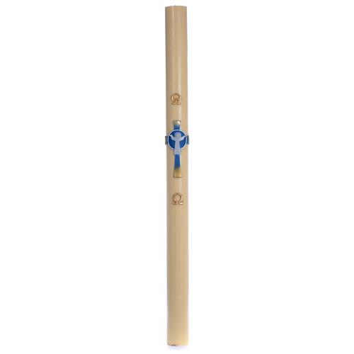 Cero pasquale cera d'api Croce Risorto azzurro 8x120 cm 3