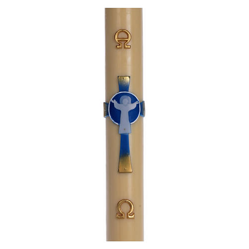 Light Blue Resurrected Christ Paschal Candle in beeswax with support 8x120 cm 1