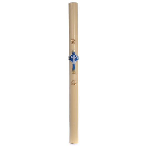 Light Blue Resurrected Christ Paschal Candle in beeswax with support 8x120 cm 3