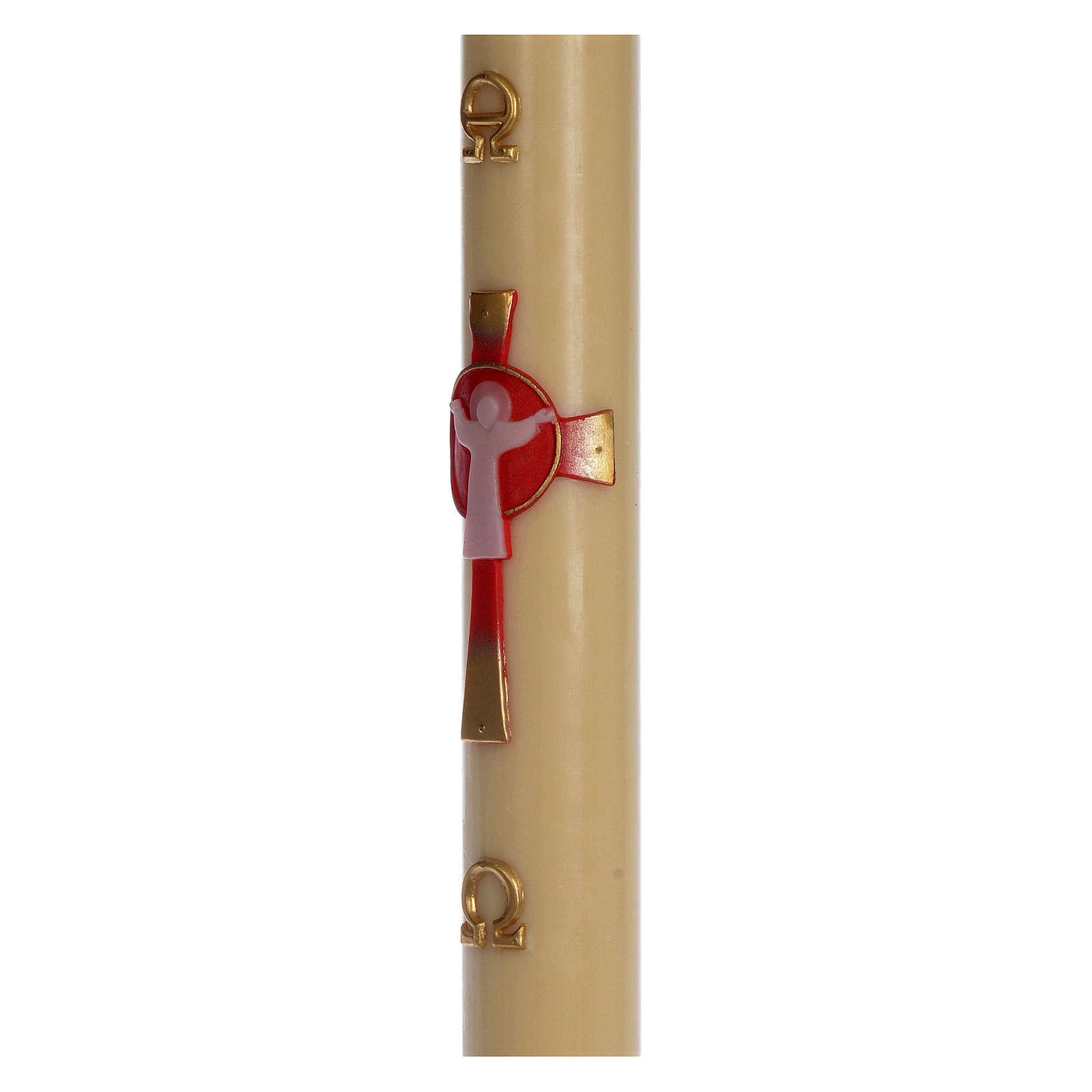 Cierge pascal cire d'abeille Croix Ressuscité rouge 8x120 cm 3