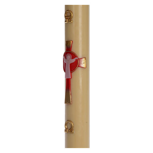 Cero pasquale cera d'api Croce Risorto rosso 8x120 cm 4