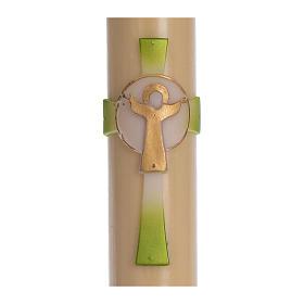 Cierge pascal cire d'abeille Croix Ressuscité vert 8x120 cm s2