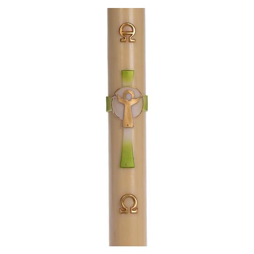 Cierge pascal cire d'abeille Croix Ressuscité vert 8x120 cm 1