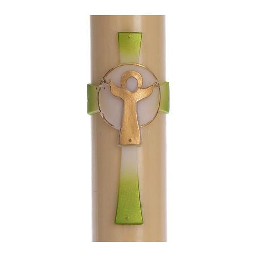 Cierge pascal cire d'abeille Croix Ressuscité vert 8x120 cm 2