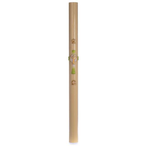 Cierge pascal cire d'abeille Croix Ressuscité vert 8x120 cm 3