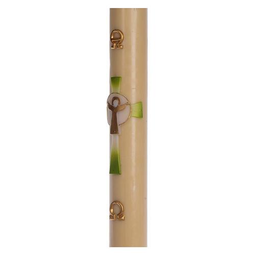 Cierge pascal cire d'abeille Croix Ressuscité vert 8x120 cm 4